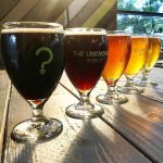 flight of beers at unknown brewery